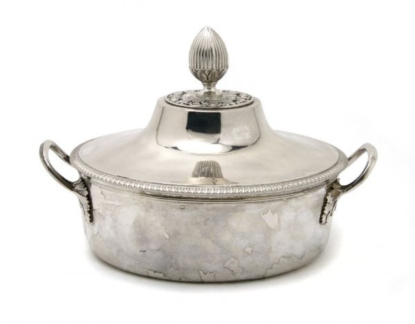 A French Silver Covered Entree Dish, Width over handles