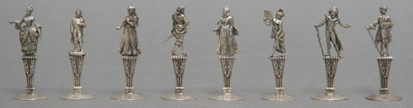 A Set of Eight French Silver Place Card Holders, Height
