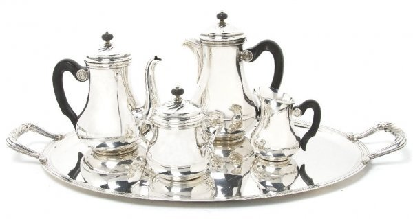 A French Five Piece Silverplate Tea and Coffee Service,