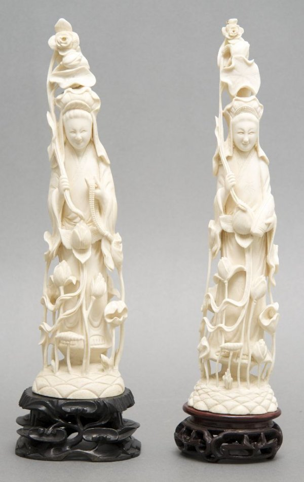 A Group of Two Carved Ivory Figures, Height 12 1/2 inch
