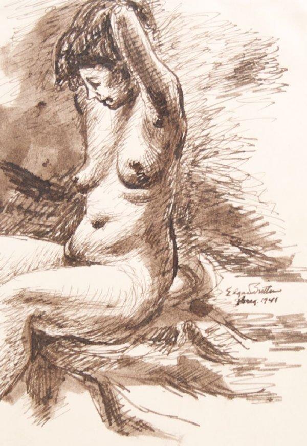 Edgar Britton, (American, 1901-1982), Nude Sitting, 194