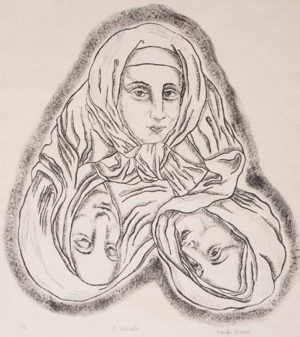 Fritzi Brod, (American, 1900-1952), Three Heads, circa