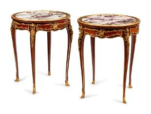 A Pair of Louis XV Style Gilt Bronze Mounted Marble-Top