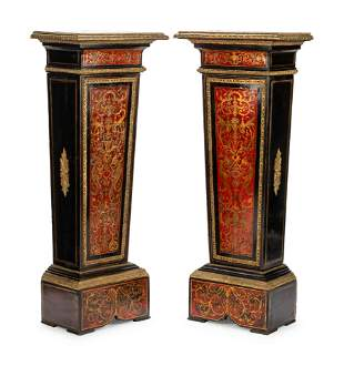 A Pair of Napoleon III Gilt Bronze Mounted Boulle