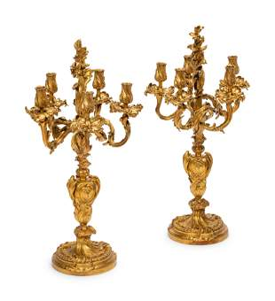 A Pair of Napoleon III Gilt Bronze Five-Light
