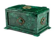 A Continental Malachite Table Casket