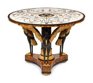 A Continental Parcel Gilt Center Table with a Specimen