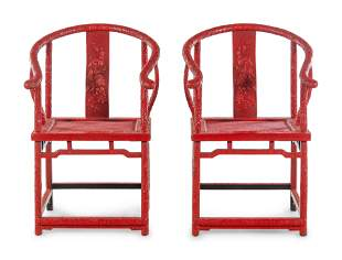 A Pair of Chinese Export Carved Red Lacquer Armchairs