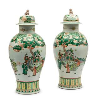 A Pair of Chinese Export Famille Verte Porcelain