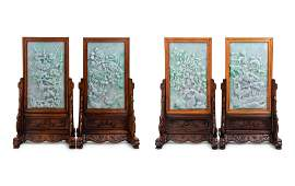 A Set of Four Chinese Export Carved Lavender and Green