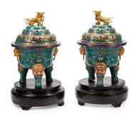 A Pair of Large Chinese Export Gilt Bronze and