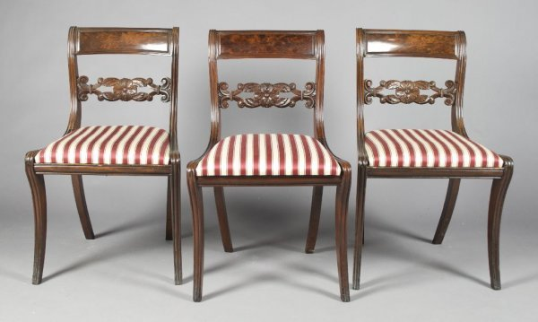 1: A Set of Three Mahogany Side Chairs, Height 31 1/2 i