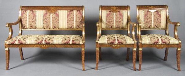 4: A Regency Style Painted and Parcel-Gilt Parlor Suite