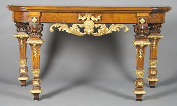 8: A Neoclassical Style Walnut and Parcel Gilt Console