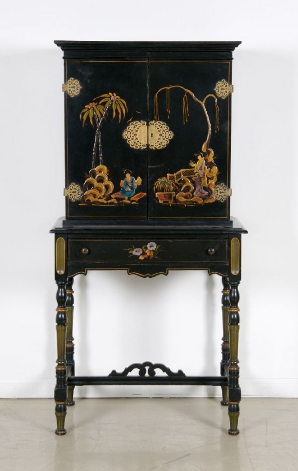 12: A Georgian Style Lacquered Writing Cabinet, Height