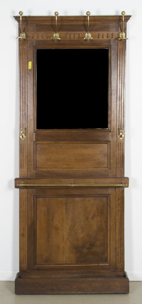 15: An American Mahogany and Brass Hall Stand, Height 7