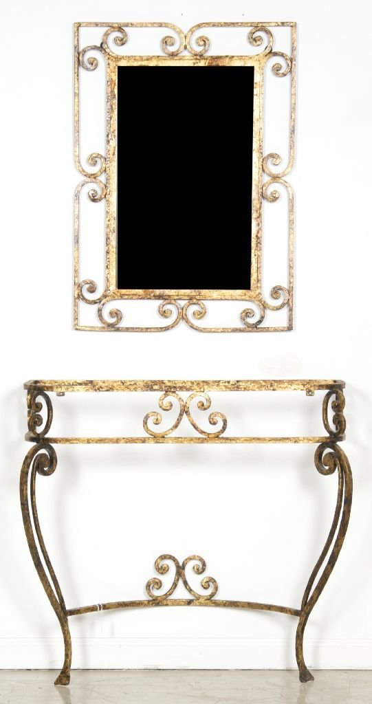 16: A Neoclassical Style Gilt Decorated Wrought Iron Ta