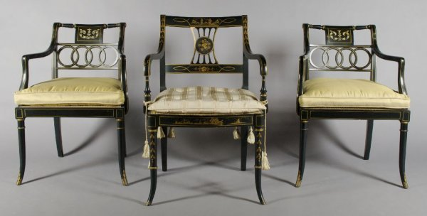 17: A Pair of Regency Style Painted and Parcel Gilt Arm