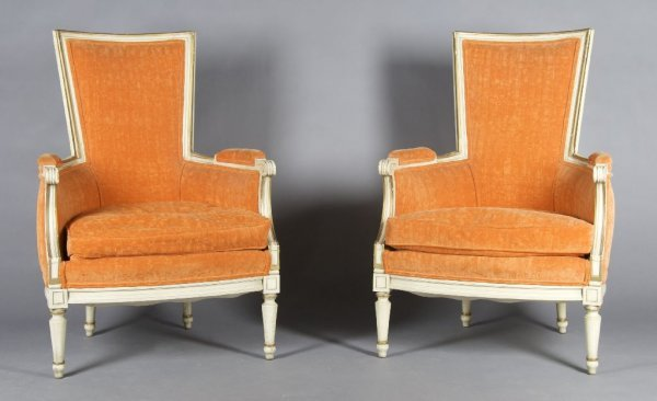 18: A Pair of Painted Armchairs, Height 39 inches.