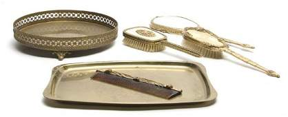 143 An Enamel Dressing Set Width of first tray 17 inc