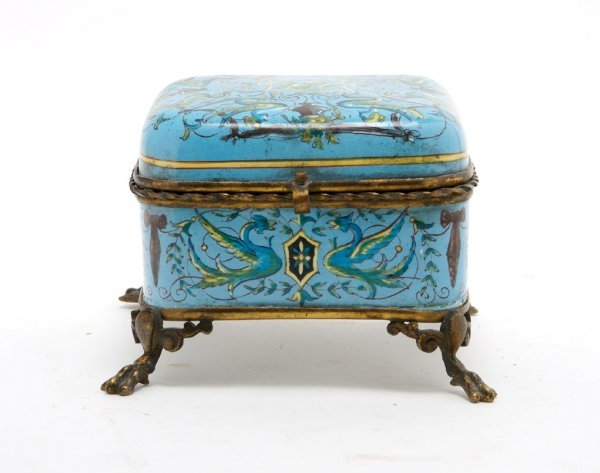 320: A French Enameled Table Casket, Height 4 1/4 x wid