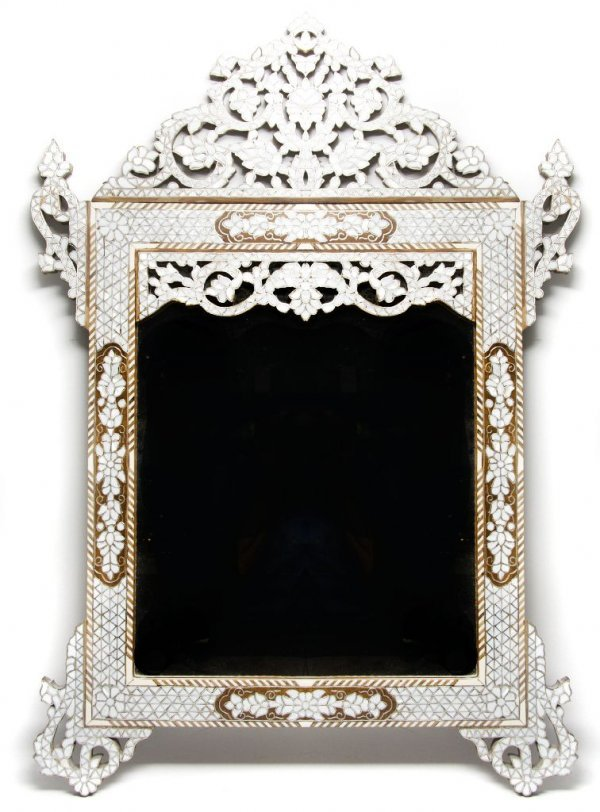 355: A Moroccan Mother-of-Pearl Inlaid Mirror, Height 3