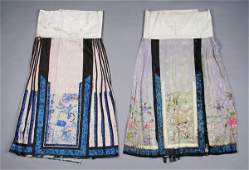410: A Group of Two Chinese Silk Skirts, Length of long