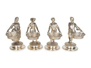 Set of Four Victorian Silver Figural Salts Height 7 1/2