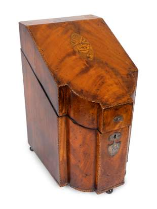 A George III Inlaid Mahogany Knife Box Height 15 1/4