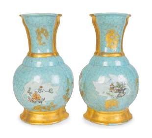 A Pair of French Porcelain Flat-Back Wall Vases Height