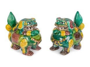 A Pair of Chinese Sancai Glazed Porcelain Mythical