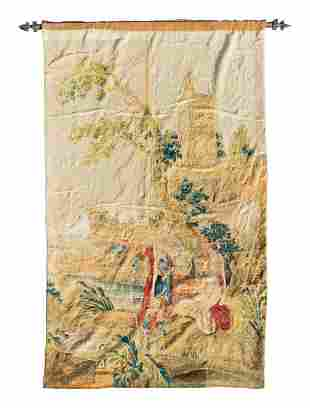 An Aubusson Tapestry Depicting Figures on Shore, Near a
