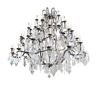 A Louis XV Style Bronze and Glass Sixty-Light