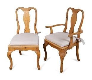 A Set of Twelve Queen Anne Style Rush Seat Pine Dining