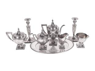An American Silver Tea and Coffee Service with Oval