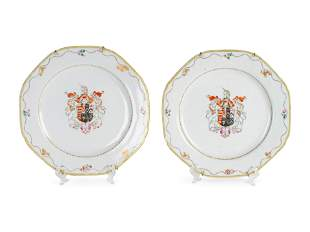 A Pair of Chinese Export Porcelain Armorial Plates