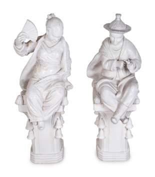 A Pair of Chinese Blanc de Chine Figures on Pedestals