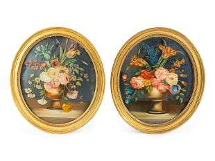 A Pair of English Floral Eglomise Oval Panels 17 1/2 x