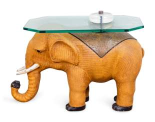 A Contemporary Rattan Elephant-Form Side Table Height