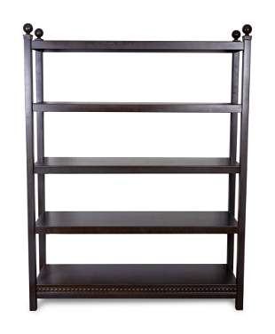 A Contemporary Black-Painted Metal Bookcase