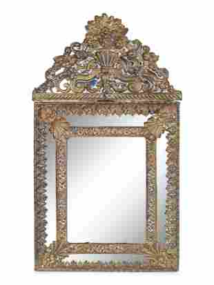 Two Dutch Baroque Style Repoussed Brass Mirrors Height