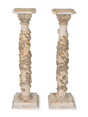 A Pair of Italian Neoclassical Style Carved and Painted