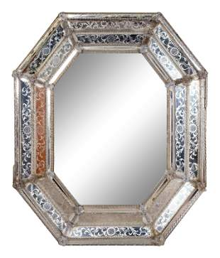 A Venetian Etched Glass Octagonal Mirror Height 48 x