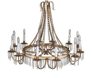 A Neoclassical Style Gilt-Metal and Glass Twelve-Light