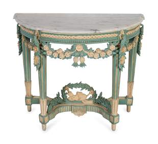 A Louis XVI Style Marble Top Polychromed Demi-lune