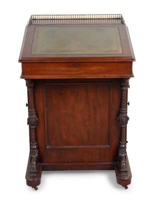A Victorian Mahogany Davenport Desk Height 34 x width