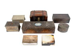 A Miscellaneous Group of Eight Boxes Largest, height 3