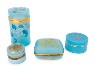 A Group of Four Opaline Glass Boxes Tallest, height 5