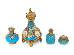 Three French Gilt Bronze Mounted Blue Opaline Glass