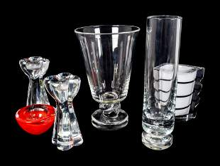 Six Contemporary Glass Table Articles Heights 2 3/8 to